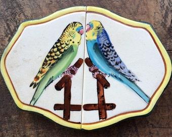 Vintage Fred Roberts Co Trivet ceramic parakeets Made in Japan