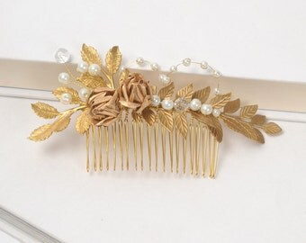Pearl and Gold Leaf Comb, Bridal Hair Comb, Laurel Leaf Hair Piece, Gold Athena Wedding Comb, Floral Leaf Wire Wrapped Headpiece