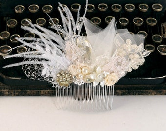 Bridal Headpiece Lace Hair Comb Wedding Hair Piece Bridal Accessory Floral Hairpiece Boheme Wedding Hair Jewelry Beaded Flower Head Piece