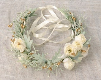 Ivory Flower Crown, Spring Wedding Floral Headpiece, Woodland Hair Piece, Bridal Head Wreath, Christmas, Holiday, Sage Green, Gold Berries