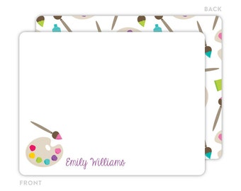 Art Party Note Cards - Personalized Kids Stationery - Children Stationery - Thank You Cards - Art Party Notecards - Flat Note Cards