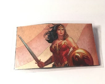 Upcycled - Wonder Woman - Comic Book- Hair Clip - Barrette - Comic Con - Fashion - Laminated - Fan