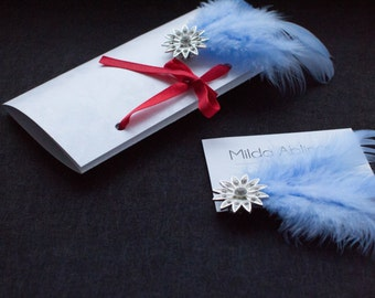 Blue Feather Shoe Clips