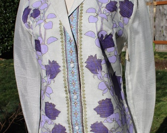 NWT Vintage Alfred Shaheen Purple Floral Ladies Button Up Shirt Size 10