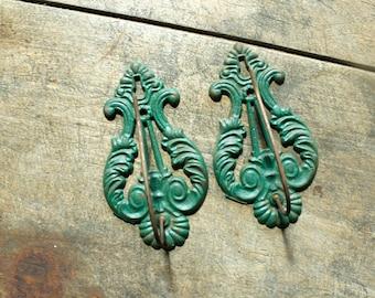 Antique Cast Iron Receipt Hooks Holders Wall Mount Green Cast Iron Wall Hooks Set of 2