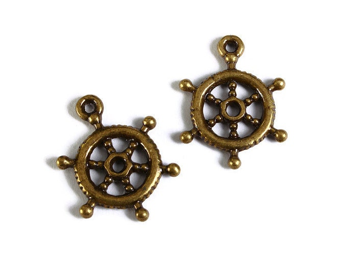 Antique brass Ship Wheel pendant - Nautical charm - 3d charm - 20mm x 15mm - Nickel and Lead free - 5 pieces (1740) - Flat rate shipping
