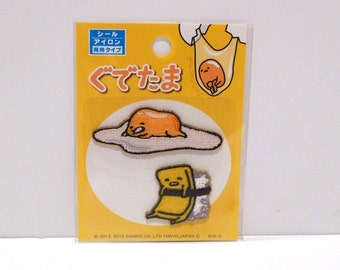 Gudetama Patches for Sewing Crafts Lazy Egg Embroidered patch Sanrio Japan Sealed Package Japanese Egg Yolk Laying in Shell Craft Supply