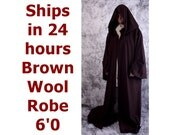 Star Wars Costume Brown Wool 6'0 Jedi Master Robe, Obi-Wan Kenobi Halloween Costume, Jedi Knight Wool Robe, Brown Monk Robe, Ready to Ship