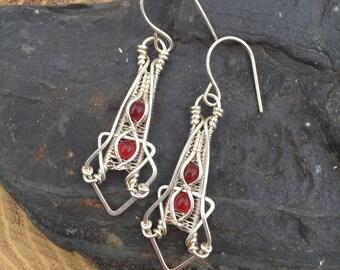 Wire Wrapped Earrings - Heady Wire Wrap - Carnelian Earrings - Sterling Silver Dangles - Sweet Water Silver - Wire Wrap - Geomtric Earrings