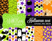 50% OFF Halloween Digital Scrapbook Paper Pack - Halloween Scrapbook Paper Set - Trick or Treat - Halloween Patterned Paper - Commercial Use