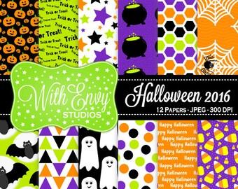 SALE Halloween Digital Scrapbook Paper Pack - Halloween Scrapbook Paper Set - Trick or Treat - Halloween Patterned Paper - Commercial Use