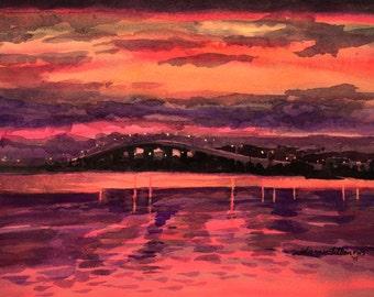 Original watercolor painting, A brilliant pink and purple sky and river at Dunlawton Bridge in Port Orange, Florida, before sunrise