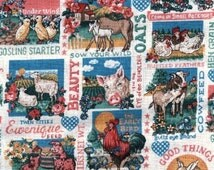 Square Dance Farm Fabric, Rooster Fabric, Animal Farm, Chicken Fabric, Pig Fabric, 01006A