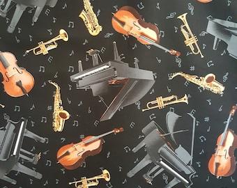 Fat Quater, Music Fabric, Piano, Violin, Musical Instruments, Music Fabric, Instrument Fabric, Timeless Treasures, C3115,  01036A