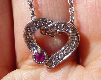 Perfect for Mother's Day....So Sweet 14KT white gold and diamond heart pendent on a 17 inch  chain with natural Ruby