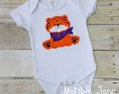 Clemson Tiger, Little Tiger Applique Bodysuit Outfit or Shirt Children's, Football Themed Outfit, Go Tigers Appliqued Shirt