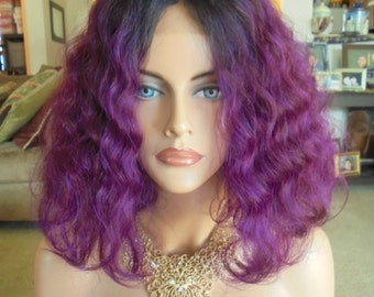 "SPRING SALE - Lace Front Natural Wavy Wig - Violet Purple with Dark Roots - Lace Front & Capless Wig - ""Violeta"" - Human Hair Blend"