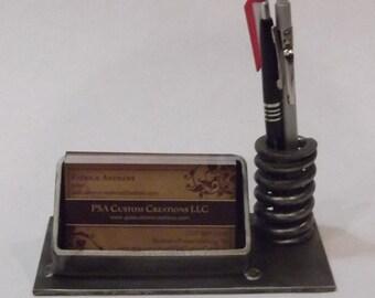 Industrial business card and pen holder or desk set
