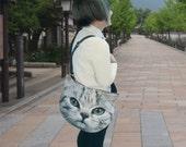 Silver kitty LARGE cross body bag, cat shoulder bag, cat portrait bag, cat purse, pet lover bag, white cat bag, CB-026