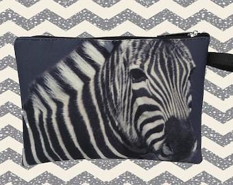 Zebra horse pouch,   purse,  clutch,  makeup bag,  PC-762