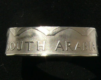 1964 South Arabia 50 Fils Coin Ring, Ring Size 12 and Double Sided
