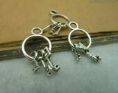 20pcs 13*24mm antique silver key charms pendant C3834