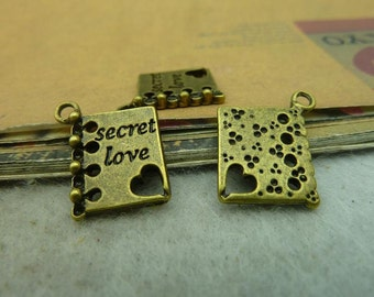20pcs 16*18mm antique bronze secret love charms pendant C3686