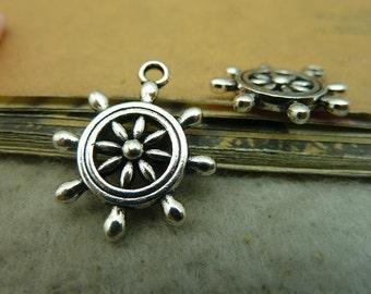 20pcs 18*23mm antique silver rudder charms pendant  C3777