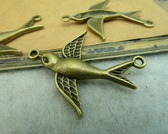 20pcs 27*37mm antique bronze swallow bird charms pendant C3287