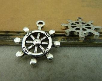 30pcs 20*24mm antique silver rudder charms pendant C4171