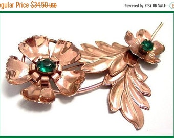 "Art Deco Brooch Pin Green Rhinestone Sterling Silver Gold Wash Flower Design 3.5"" BIG"