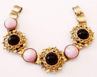 Pink Black Marble Stone Bracelet Book Links Gold Metal Filigree Stations 7.5 in Vintage
