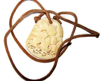 """Asian Ox Bone Pendant Leather Cord Creamy White Color Hand Carved Signed Japan 20"""" Vintage"""
