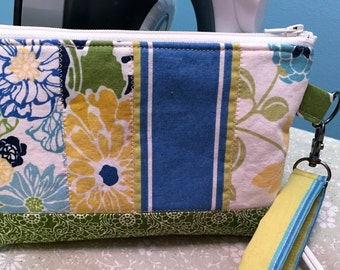 Wristlet, Cosmetic Bag, Purse Organizer, Quilted, Floral, Birds, Patchwork