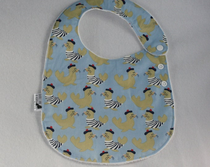 Blue French Seals Adjustable Side Snap Bib with Minky Back