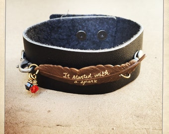 Foo Fighters Inspired Leather Cuff Bracelet