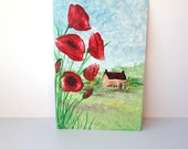 Poppy Cottage landscape encaustic art 6 x 4 inche painting