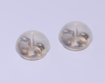Patented Silicone Earring Backs with 14K GOLD FULL CLUTCH Built in (Made in Japan) (1pair~100pairs)