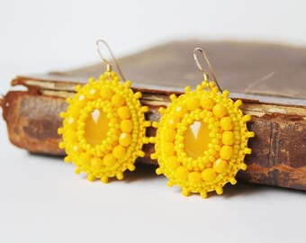 Yellow Beaded Earrings Yellow Dangle Earrings Bead embroidery Earrings Embroidered Jewelry Yellow Jewelry Agate Cabochons Gift MADE TO ORDER