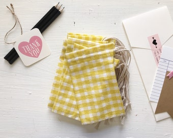 12 Small fabric drawstring gift bags - yellow and white gingham (handmade)