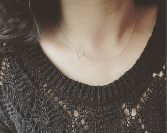 Sideways Heart Necklace - Open Your Heart Necklace - Sterling Silver Link Open Heart  Necklace - Everyday Jewelry/