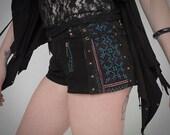Suede shorts steampunk Burning man shorts  tribal shorts biker pixie style