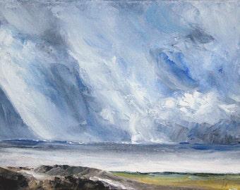 "Original Oil Painting: Dramatic Impressionist Skyscape ""Mood Indigo"""