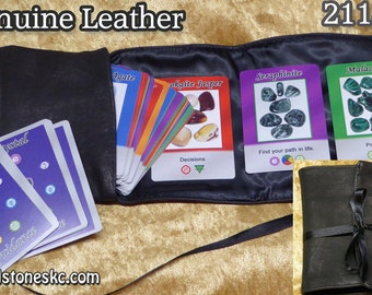 Smaller Size Tarot/Oracle Cards Bag in Black Leather and Black Satin