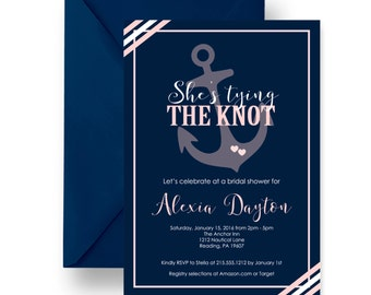 Tying The Knot Bridal Shower Invitation Mod - Navy Seashore Wedding - Beach Brunch Invite - Nautical Bubbly - Printable - Printed (TYINOTBS)