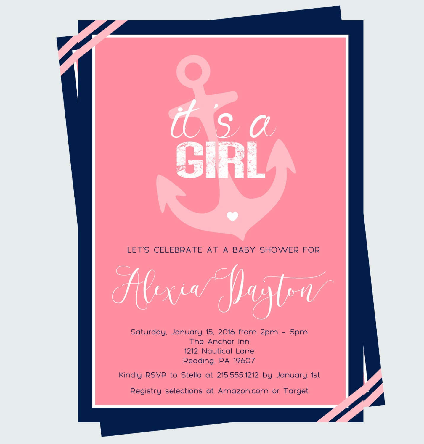 anchor baby shower invitations girls coral by papercleverparty