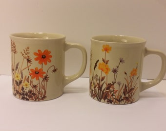 Vintage Pair of 1960s Floral JAPAN Glazed Coffee Mug, Tea Mug, Coffee Cup, Tea Cup - Vintage Coffee, Vintage Tea