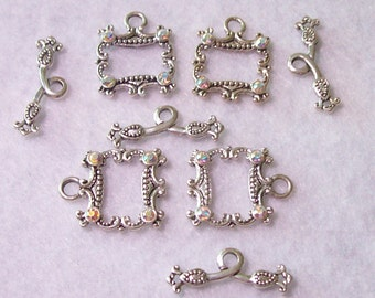 Bracelet toggle clasp, set of 4 crystal toggle clasp, Swarovski crystals on each corner, 1 inch long, new condition, never used, #TC1063