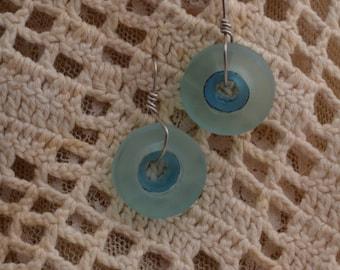 Two Tone Aqua Glass Earrings.  FREE SHIPPING