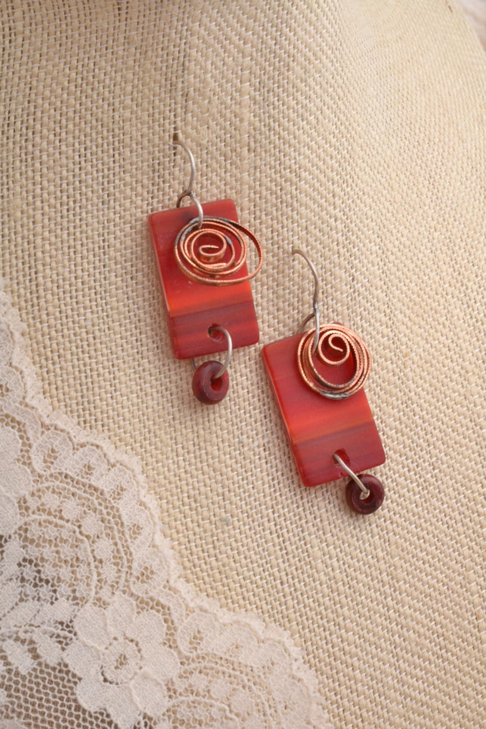 Snippet Copper Tips The Nailasaurus: Red Glass Earring With Copper. FREE SHIPPING By Mostlydreams